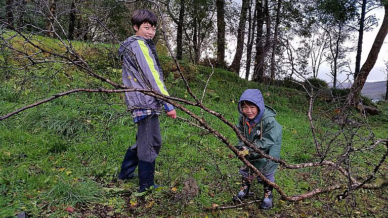 Josh & Kai collecting firewood